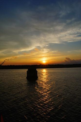 sunset sun water river landscape pier