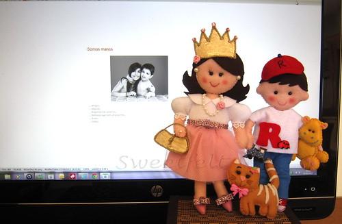 ♥♥♥ Os manos juntinhos e a gatinha Nani... by sweetfelt \ ideias em feltro