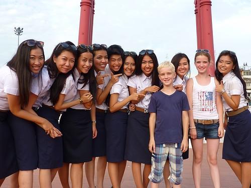 Thai fashion models at Giant Swing
