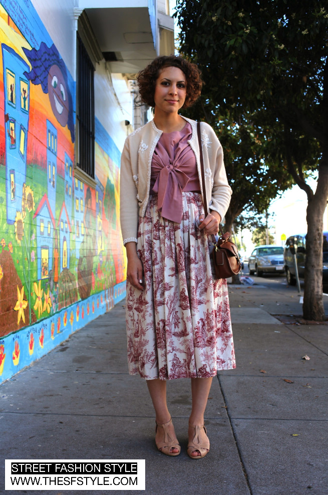 sfs, thesfstyle, www.thesfstyle.com, street fashion style, fashion blog, san francisco, sf, vintage leather bag, toile print, toile print dress,