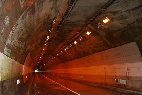 Tunnel near Ashibetsu Lake (Route 452, Hokkaido, Japan)