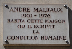 Photo of André Malraux white plaque