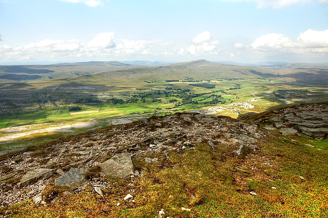 The view back over the tallest of the three yorkshire peaks, Whernside. A famous hill in the dales.