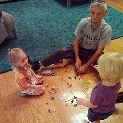 Playing jacks with Grampaw.