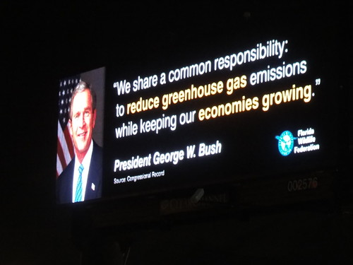 George Bush talking about greenhouse gas emissions.