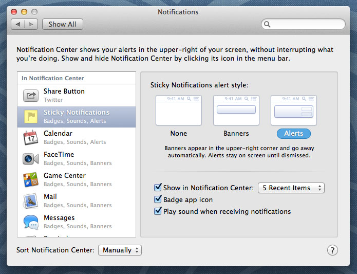 Notifications pane in System Preferences