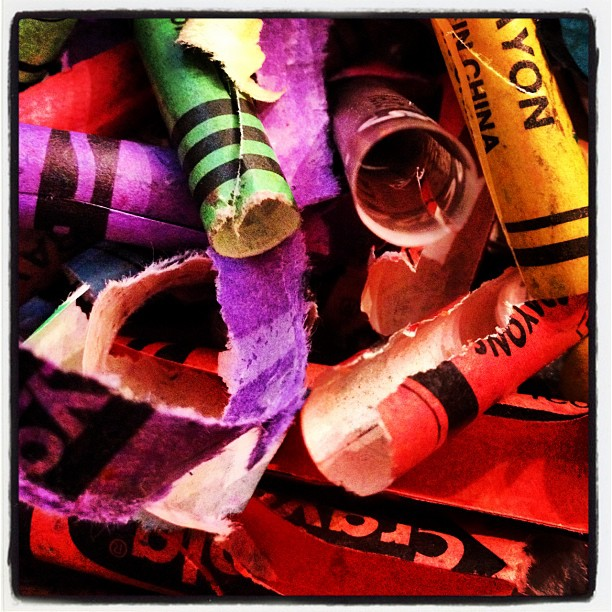Cleaning out supplies. Peeling the broken crayons for fun melty projects with my preschoolers. ❤