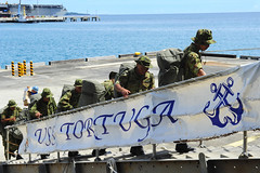 Soldiers from the Japan Ground Self Defense Force embark USS Tortuga (LSD 46), Aug. 21 in Okinawa. (U.S. Navy photo by Mass Communication Specialist Seaman Chelsea Mandello)