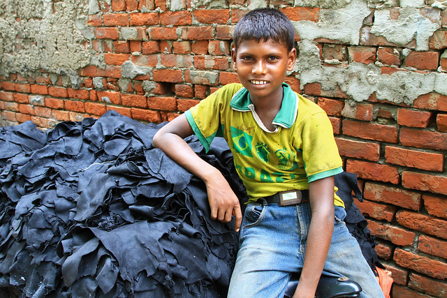 Child labor at a tannery in Dhaka, Bangladesh.