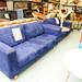 3+2 sofa  blue suede  fabric
