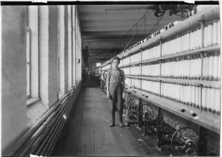 Jo Bodeon, a back-roper, in mule room. Chace Cotton Mill. Burlington, Vt, May 1909