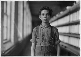 Jo Bodeon, a back-roper in mule room. Chace Cotton Mill. Burlington, Vt, May 1909