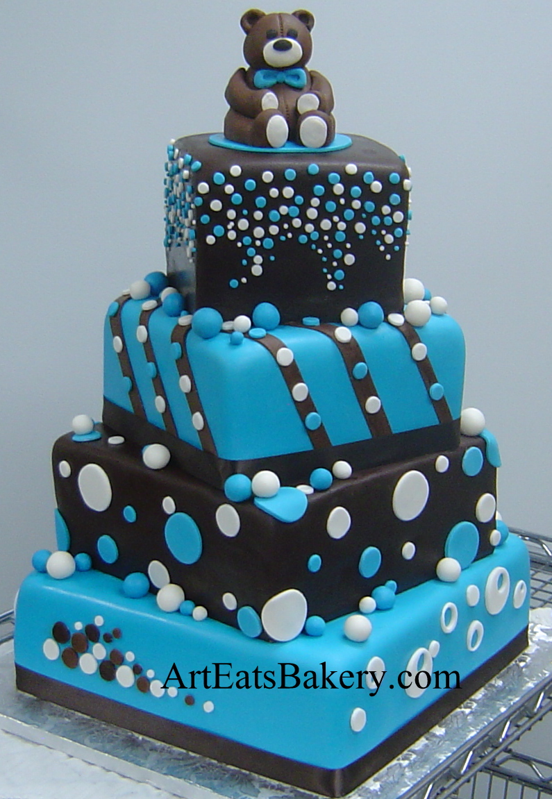 Cake Designs Jackie Brown Croydon : Three tier chocolate brown and blue polka dot boy baby ...