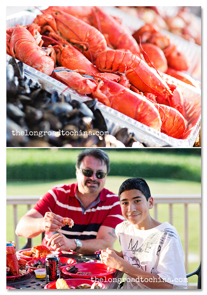 Eddie and Kevin Eating Lobster Collage 2