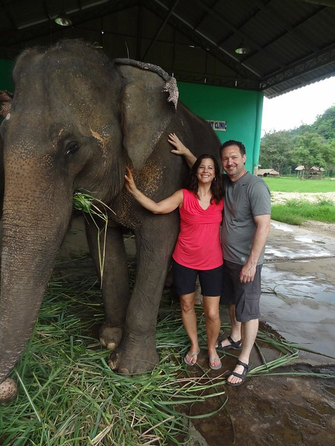 Mom and Dad with the elephant