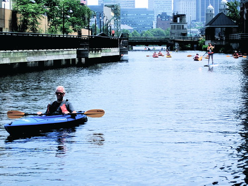 boston kendall square kayaking man