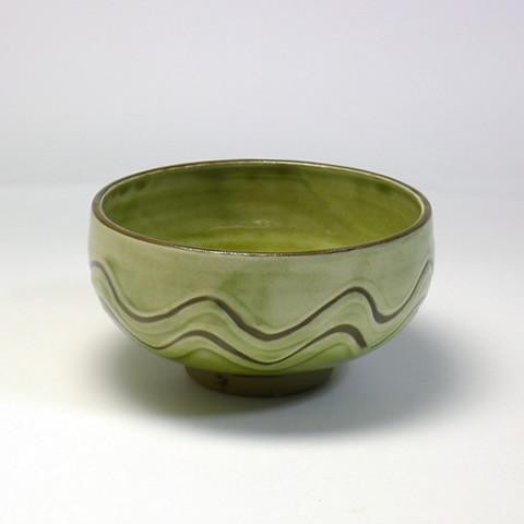 黒木富雄窯 4寸丸小鉢/指描き波文・うす青釉