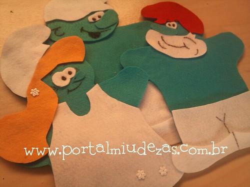 Fantoches Smurfs by miudezas_miudezas