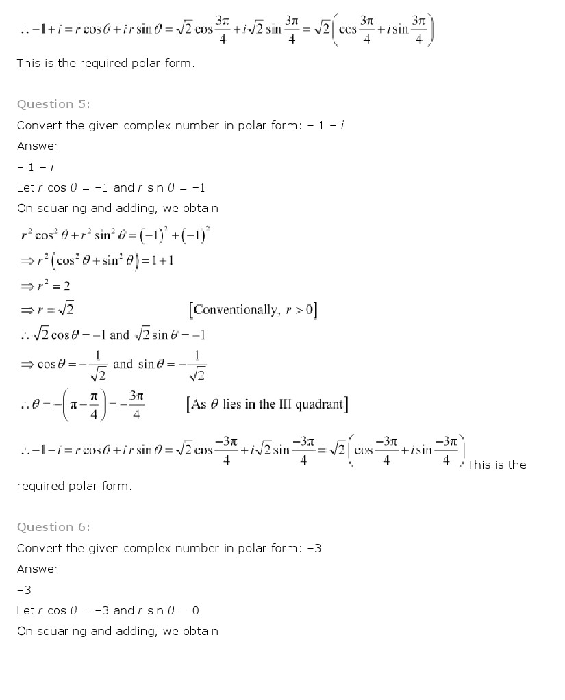 NCERT Solutions for Class 11th Maths Chapter 5 Complex Numbers – Quadratic Equations Worksheet with Answers