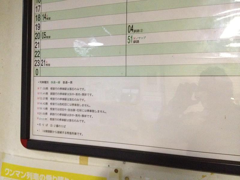 厚床駅の時刻表