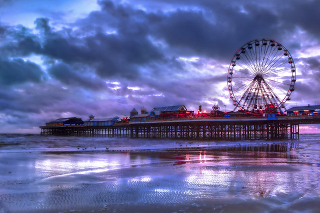 Blackpool, UK, sunset