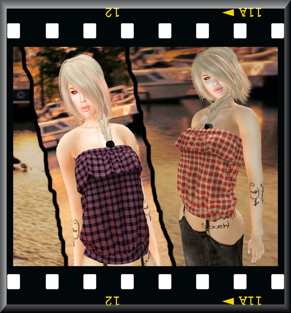 piccara Strapless Plaid Blouse