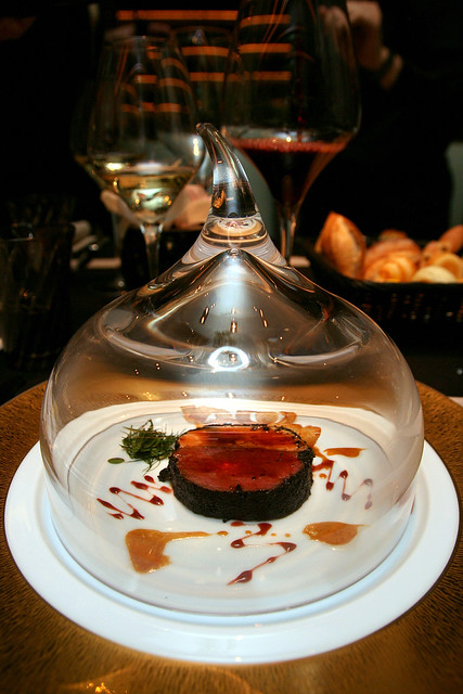 The beef fillet Rossini style came shielded in this dramatic glass dome