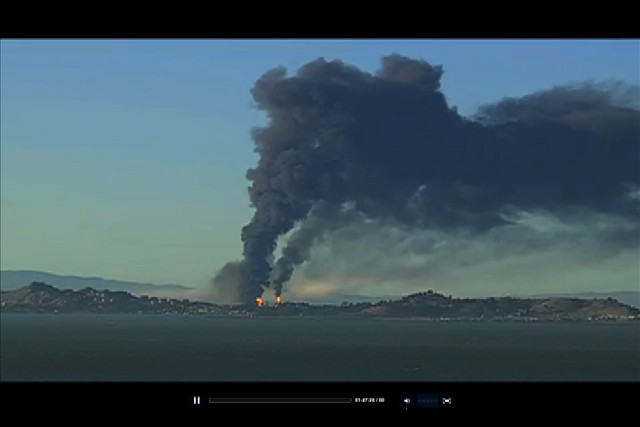 from KTVU video feed:  Fire at Chevron Refinery in Richmond,CA - August 6, 2012