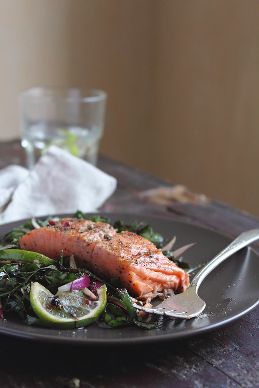 Roasted Salmon with Chard Salad