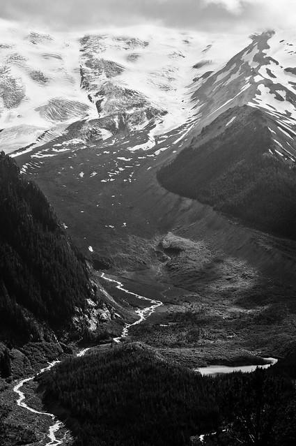 Glacial Valley, Rainier (B&W)