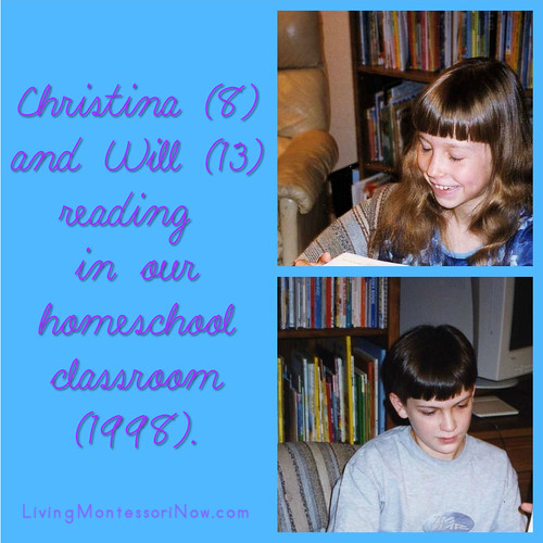 Christina and Will reading in our homeschool classroom (1998).