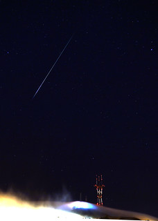 Perseid meteor over Sutro Tower, San Francisco Aug 13, 2012