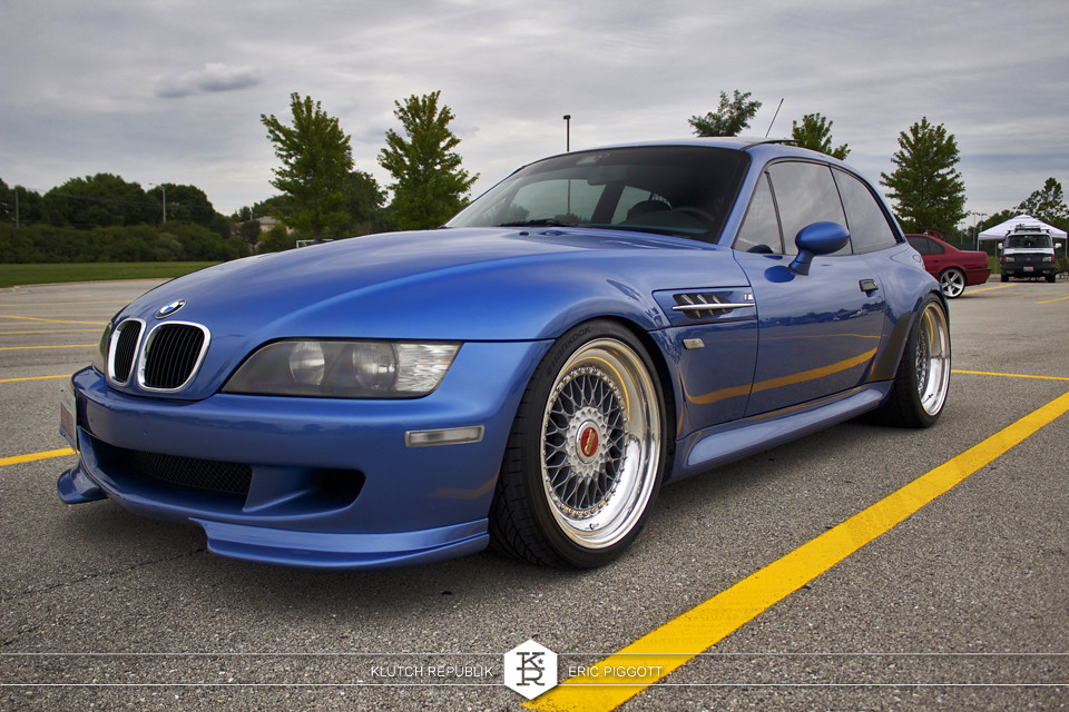 blue bmw z3 roadster coupe bbs rs at midwest treffen 2012 3pc wheels static airride low slammed coilovers stance stanced hellaflush poke tuck negative postive camber fitment fitted tire stretch laid out hard parked seen on klutch republik
