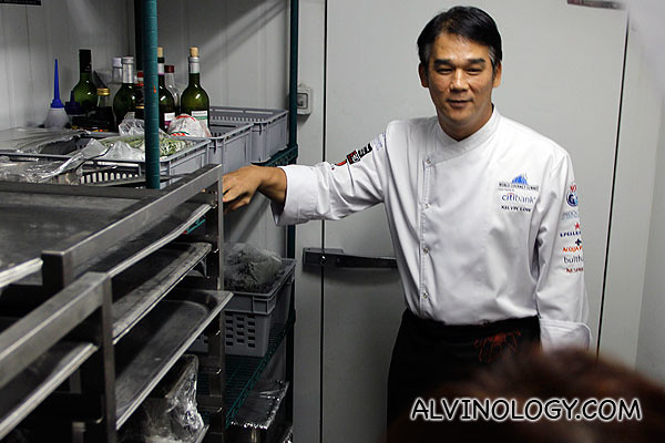 Chef showing us inside one of the giant fridges