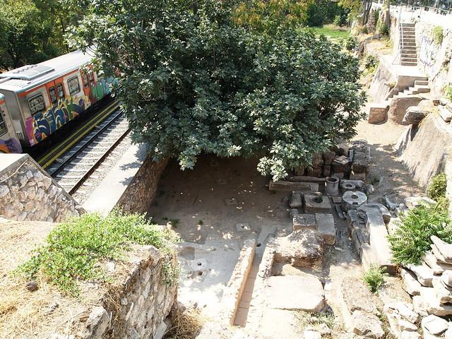 Railways pass through Ancient Agora of Athens. Aug 2012. O-152