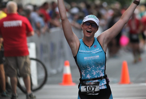 Kate Reaching the Finish of the Louisville IronMan