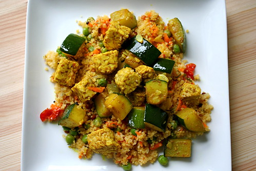 Coriander Tempeh and Zucchini with Couscous Upma