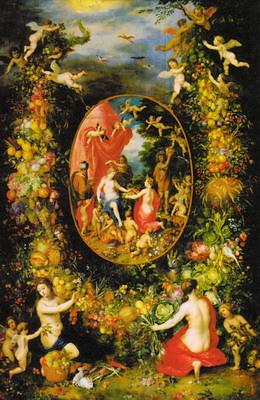 四季の精から贈り物を受け取るケレスと、それを取り巻く果実の花輪