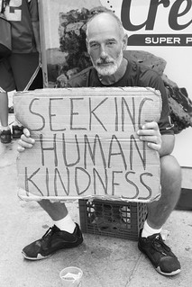boston harvard square man holding seeking human kindness sign