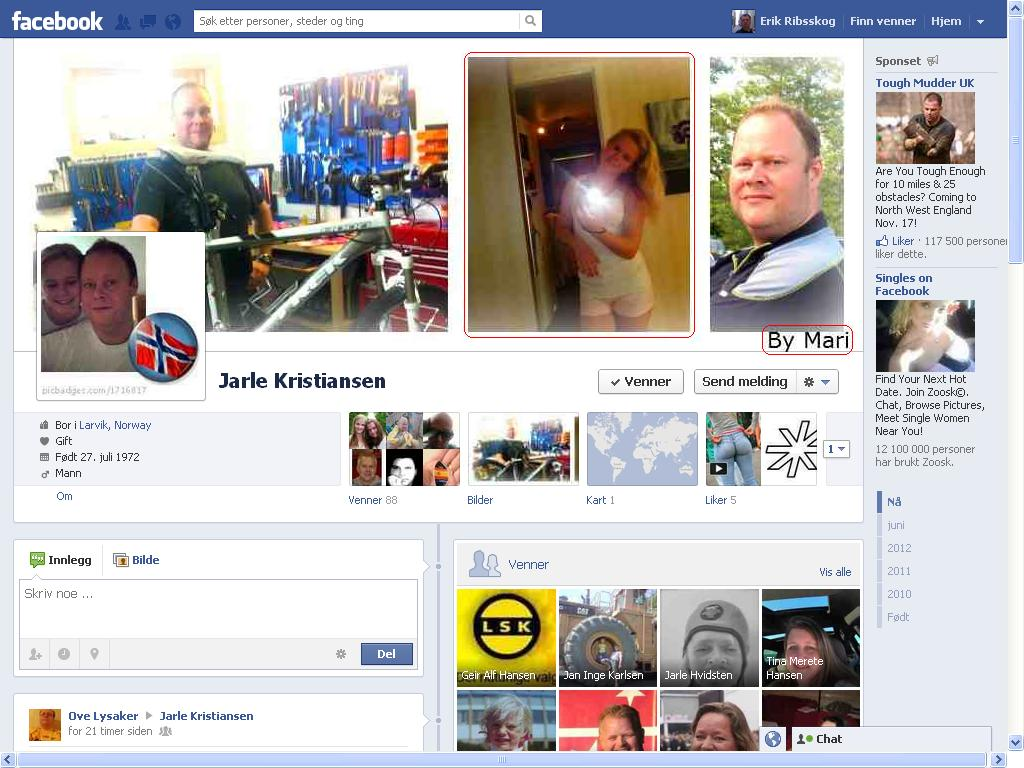 617bdc29 Min tidligere nesten nabo, i Larvik, Jarle Kristiansen, lar visst dattera  si styre Facebook-kontoen sin. Hm