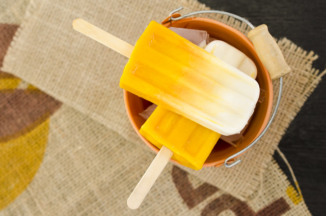 Mango Vanilla Yogurt Popsicles