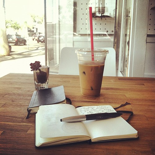 Coffee, a @moleskine, a pen, and ideas. #writing #thought