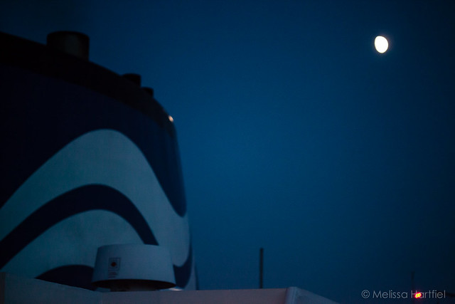 BC Ferry funnel and the moon