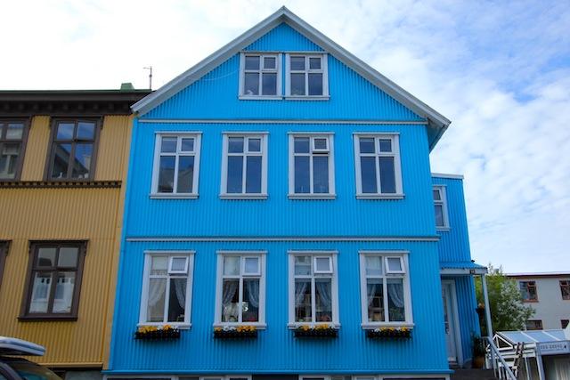 Bright blue house Reykjavik