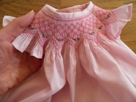 Pink smocking detail