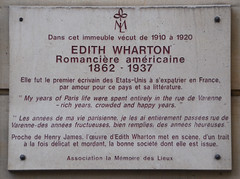 Photo of Edith Wharton white plaque