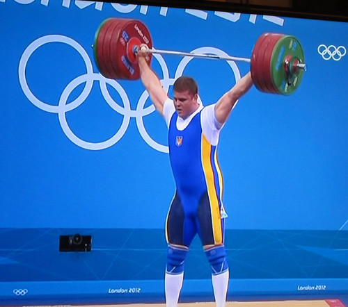 Weightlifter performing snatch