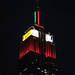 Empire State Building Celebrating Countries in the Olympics (East: Belgium, North: Hong Kong)
