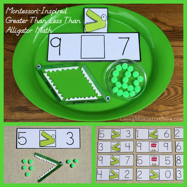 Montessori-Inspired Greater Than Less Than Alligator Math