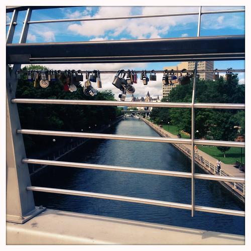 Lovers' locks on the Corktown Bridge